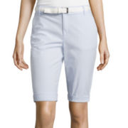 Liz Claiborne® Belted Roll-Cuff Poplin Walking Shorts