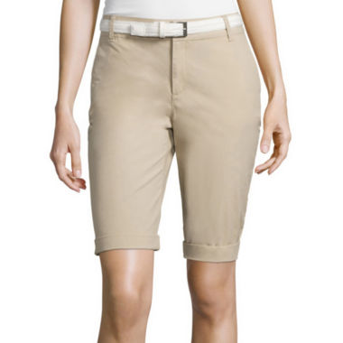 jcpenney.com | Liz Claiborne® Belted Roll-Cuff Poplin Walking Shorts - Tall