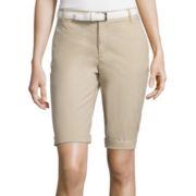 Liz Claiborne® Belted Roll-Cuff Poplin Walking Shorts