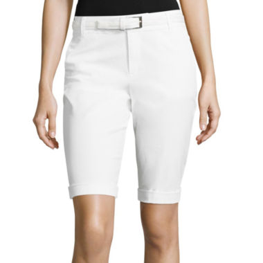 jcpenney.com | Liz Claiborne® Belted Roll-Cuff Poplin Walking Shorts