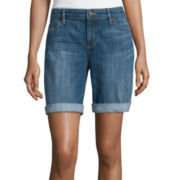 Liz Claiborne® City Fit Rolled Cuff Boyfriend Shorts - Tall