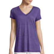 Liz Claiborne® Short-Sleeve Burnout Swing Tee