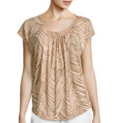 Liz Claiborne® Sleeveless Shirred Print Knit Tee
