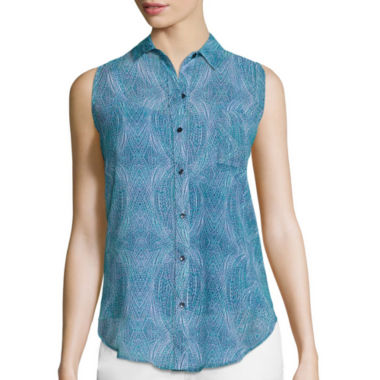 jcpenney.com | Liz Claiborne® Sleeveless Woven Button-Front Shirt