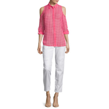 jcpenney.com | I 'Heart' Ronson® Cold-Shoulder Roll-Cuff Gingham Top or Distressed Boyfriend Jeans