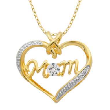 jcpenney.com | Classic Treasures™ Lab-Created White Sapphire Two-Tone Mom Heart Pendant Necklace