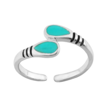 jcpenney.com | itsy bitsy™ Turquoise Stone Sterling Silver Adjustable Toe Ring