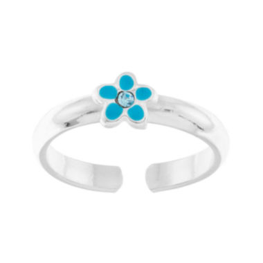 jcpenney.com | itsy bitsy™ Blue Crystal and Enamel Sterling Silver Flower Toe Ring