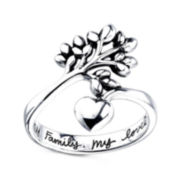 Footnotes® Sterling Silver Family Tree Ring