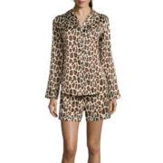 Sleep Chic Notch-Collar Satin Shorty Pajama Set