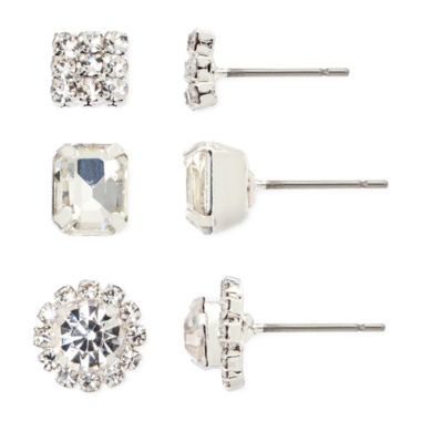 jcpenney.com | Vieste® Crystal 3-pr. Earrings Set