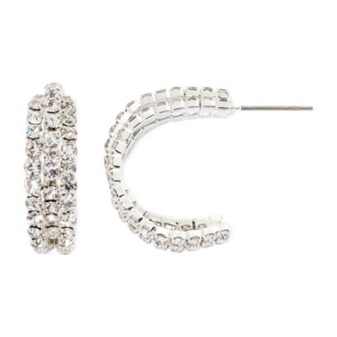 jcpenney.com | Vieste® Crystal Twist Hoop Earrings