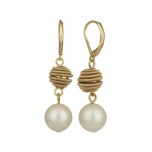 Monet® Simulated Pearl Gold-Tone Double Drop Earrings
