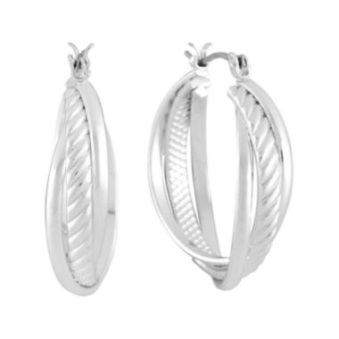 jcpenney.com | Liz Claiborne® Silver-Tone Textured Hoop Earrings