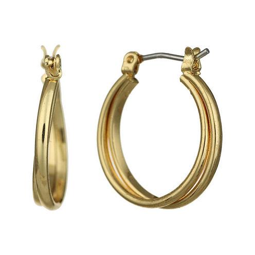 Monet® Gold-Tone 2-Row Smooth Hoop Earrings