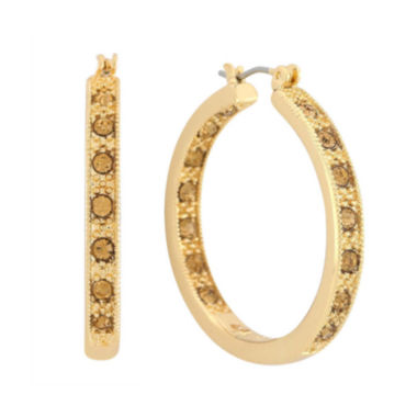 jcpenney.com | Monet® Brown Stone & Gold-Tone Hoop Earrings