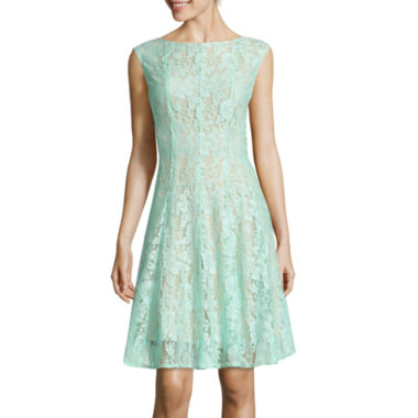 jcpenney.com | Danny & Nicole® Sleeveless Lace Vertical Seam Fit-and-Flare Dress