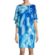 Studio 1® Abstract Print Chiffon Popover Dress