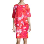 Studio 1® Sleeveless Chiffon Floral-Print Shift Dress