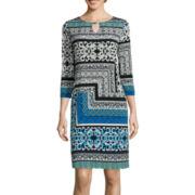 Tiana B. 3/4-Sleeve Print Keyhole Shift Dress