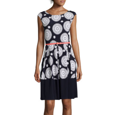 jcpenney.com | Tiana B. Cap-Sleeve Belted Print Fit-and-Flare Dress