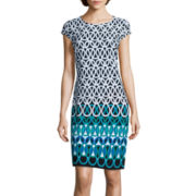 Liz Claiborne® Cap-Sleeve Print Shift Dress