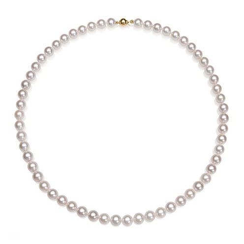 "A Quality Cultured Akoya Pearl 14K Yellow Gold 18"" Strand Necklace"