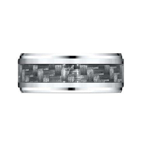 Mens 9mm Cobalt and Carbon Fiber Wedding Band Ring