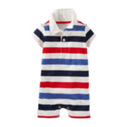 OshKosh B'Gosh® Short-Sleeve Stripe Cotton Romper - Baby Boys newborn-24m