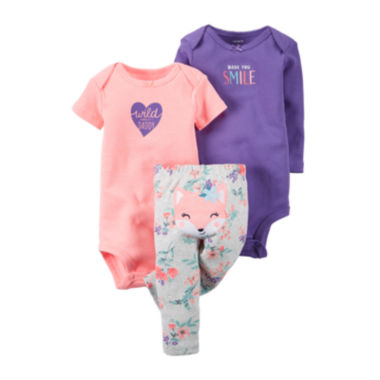 jcpenney.com | Carter's® 3-pc. Fox Layette Set - Baby Girls newborn-24m