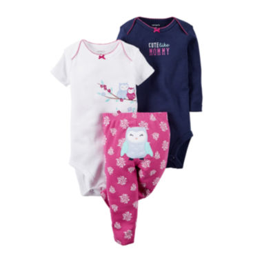 jcpenney.com | Carter's® 3-pc. Short-Sleeve Bodysuits & Pants Set - Baby Girls newborn-24m