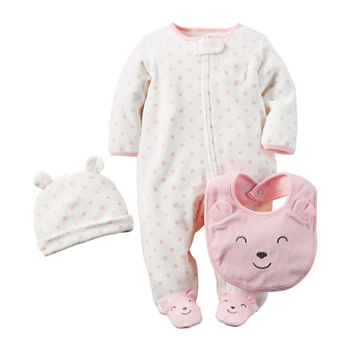 Carter's® 3-pc. Footed Bear Layette Set - Baby Girls newborn-24m