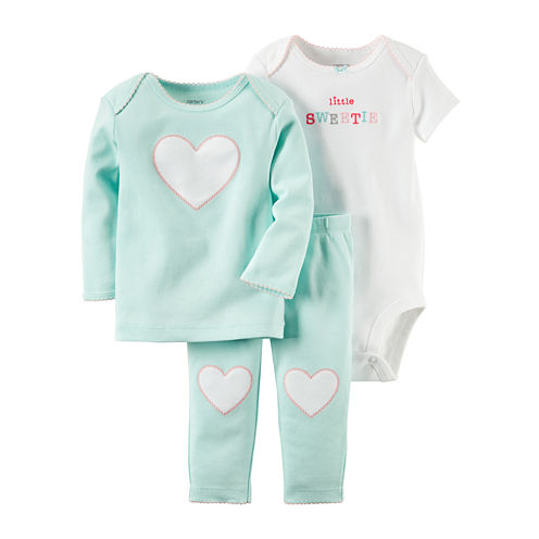 Carter's® 3-pc. Blue Heart Layette Set - Baby Girls newborn-12m