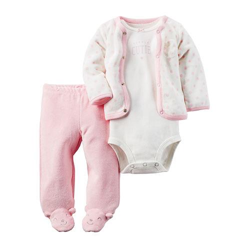 Carter's® 3-pc. Pink Bear Layette Set - Baby Girls newborn-24m