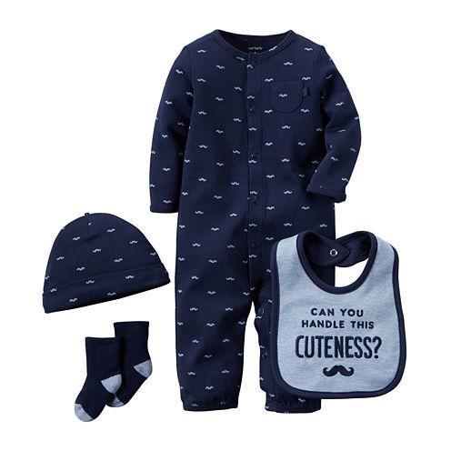 Carter's® 4-pc. Mustache Layette Set - Baby Boys newborn-24m