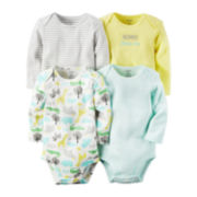 Carter's® 4-pk. Long-Sleeve Safari Cotton Bodysuits - Babies newborn-24m
