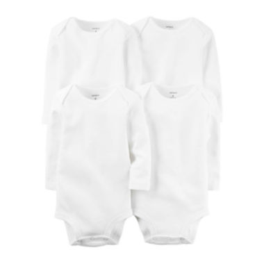 jcpenney.com | Carter's® 4-pk. Long-Sleeve White Bodysuits - Babies newborn-24m