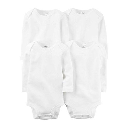 Carter's® 4-pk. Long-Sleeve White Bodysuits - Babies newborn-24m