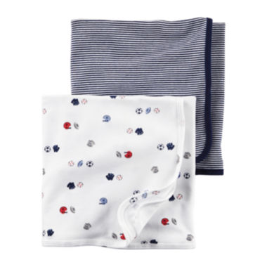 jcpenney.com | Carter's® 2-pk. Navy Sports Swaddle Blankets - Baby Boys newborn-24m
