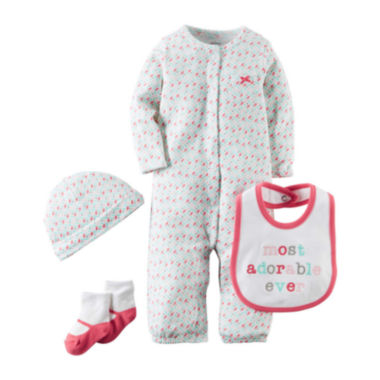 jcpenney.com | Carter's® 4-pc. Pink Geo-Print Layette Set - Baby Girls newborn-24m