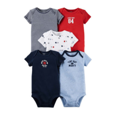 jcpenney.com | Carter's® 5-pk. Short-Sleeve Sports Bodysuits - Baby Boys newborn-24m