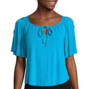 By & By Short-Sleeve Crochet Inset Peasant Top