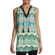 By & By Sleeveless Print Tank with Tassels