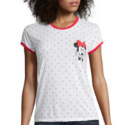 Mighty Fine Short-Sleeve Minnie Mouse Graphic Print Ringer Tee