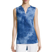 St. John's Bay® Sleeveless Tie-Dyed Top