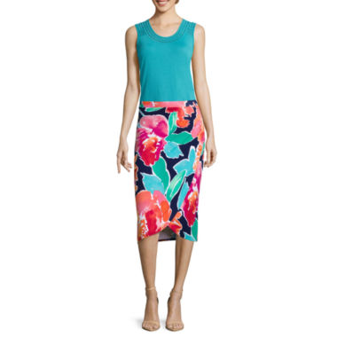 jcpenney.com | Liz Claiborne® Embroidered Tank Top or Midi Faux-Wrap Skirt