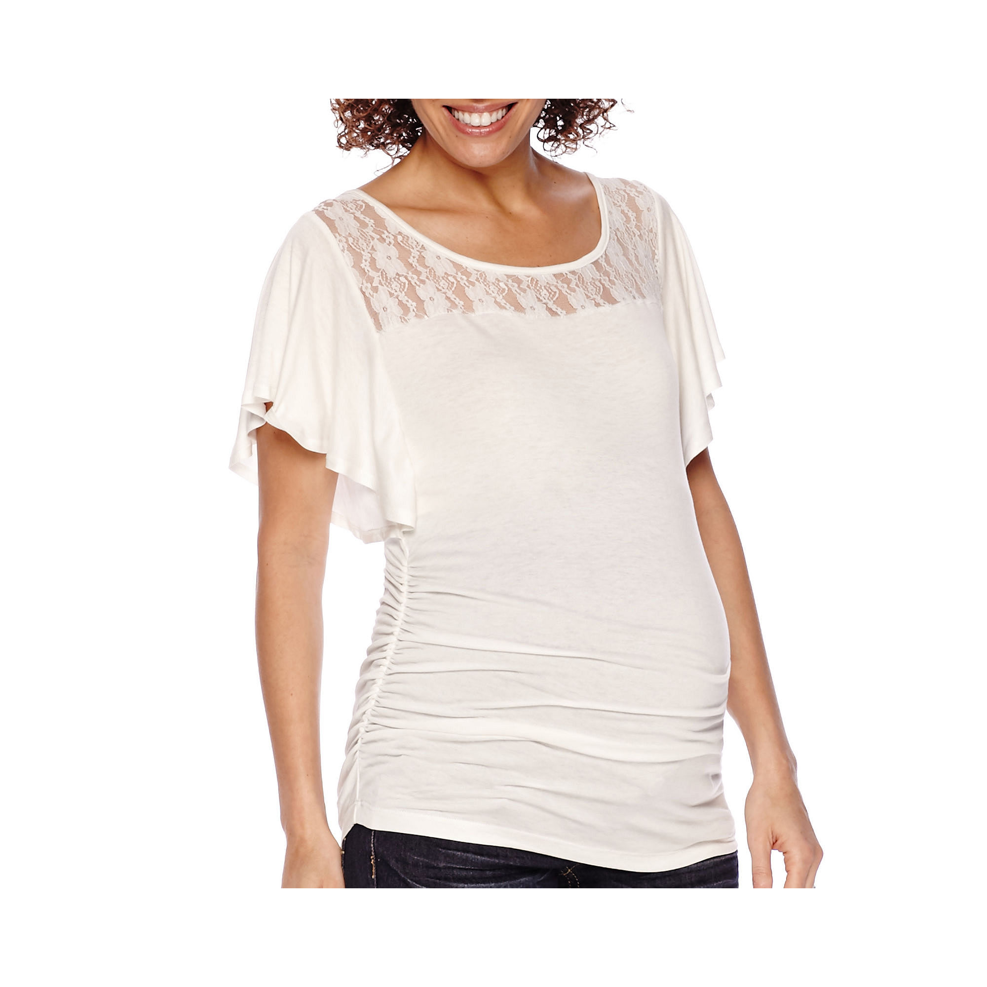 Maternity Flutter-Sleeve Lace-Yoke Ruched-Side Top - Plus plus size,  plus size fashion plus size appare
