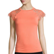 Bisou Bisou® Short-Sleeve Scallop-Edge Lace Tee