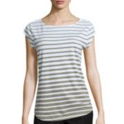Liz Claiborne® Cap-Sleeve Shirttail Top with Shoulder Buttons - Petite