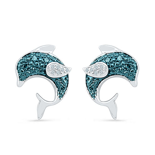 Diamond Accent Round Blue Diamond Sterling Silver Stud Earrings